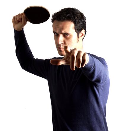 Man playing ping pong Stock Photo