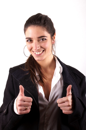 Girl with thumbs up Stock Photo
