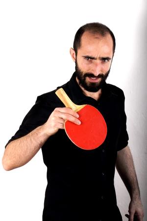 ping pong: Hombre que juega a ping pong