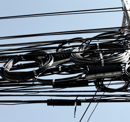 mess: Electric cables mess Stock Photo