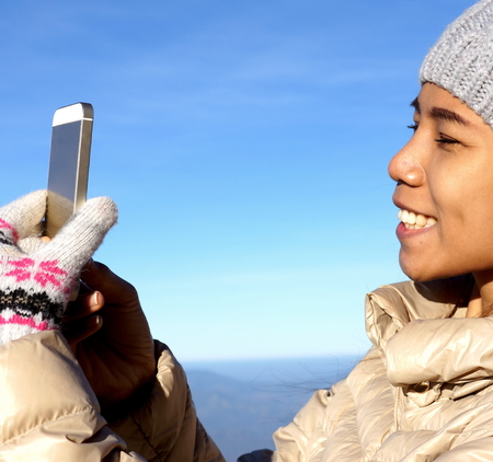 selfy: Girl with mobile phone Stock Photo