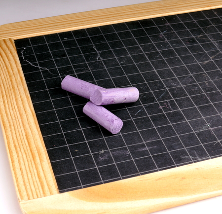 chalks: Blackboard and Coloured Chalks Stock Photo