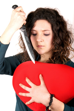 heartbreak issues: Lady broken heart Stock Photo