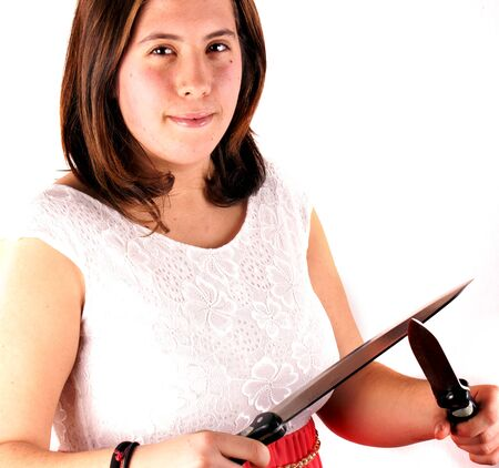 Girl with knife photo