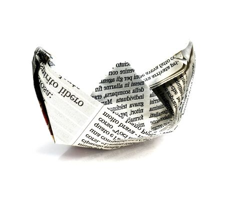Studio shot of a paper boat on white background Stock Photo