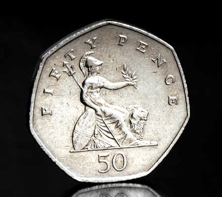 pence: Studio shot of a fifty pence UK coin