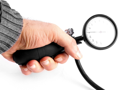 sphygmomanometer: Studio shot of an hand with sphygmomanometer