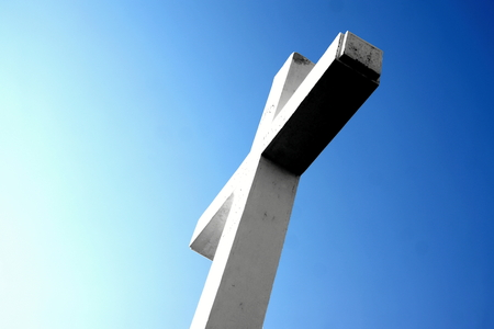 hercegovina: The white Cross of the Kricevac mount Stock Photo