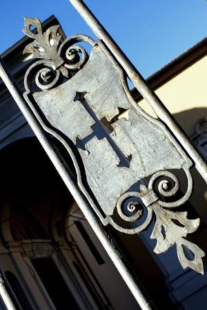 Angeli: Detail of an ancient italian railing decoration Stock Photo