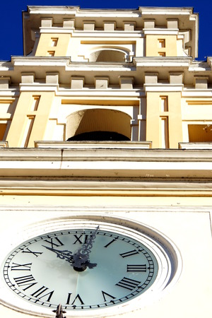 architecture monumental: The clock of the Governor Palace in Parma
