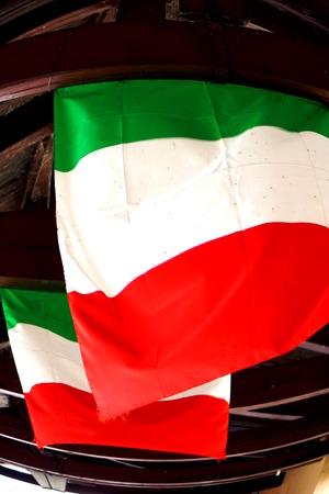 grappa: Italian flags in the Bassano del Grappa bridge Stock Photo