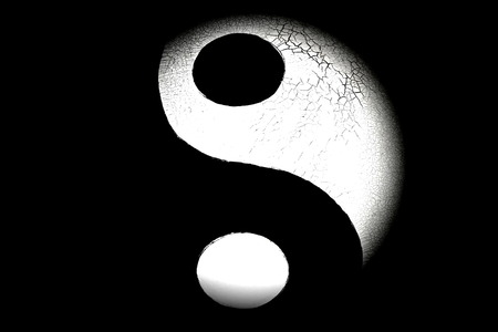 Close up of the yin and yang sign
