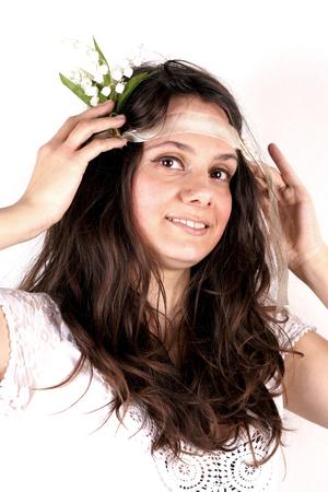 headband: Studio shot of a lady with headband Stock Photo