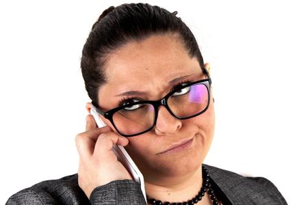 lady on phone: Elegant lady with mobile phone on white background Stock Photo