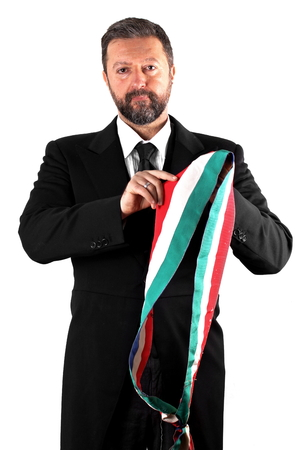 mayor: Studio shot of an italian Mayor on white background