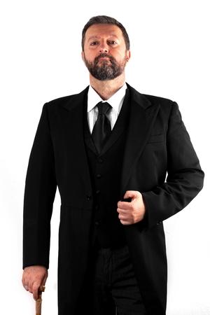 Studio-Aufnahme von einem eleganten Mann auf weißem Hintergrund Standard-Bild