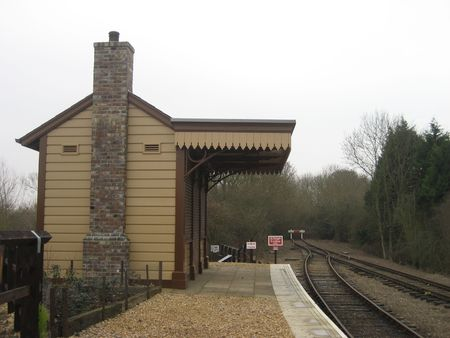 railway station: this picture shows a small railway station in England Stock Photo