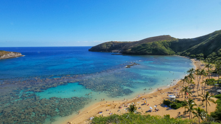 wide shot of the beach and reef at the popular snorkeling location, hanauma bay Stock fotó