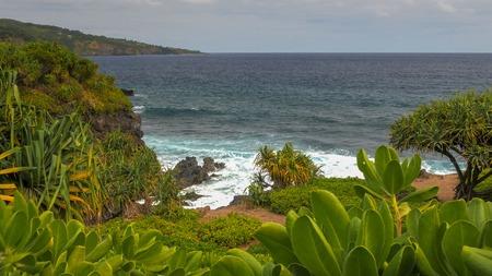 the coastline at the pools of oheo on the hawaiian island of maui
