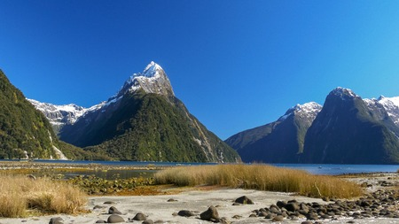 shot of mitre peak and milford sound in new zealand
