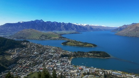 view from skyline of queenstown and lake wakitipu in new zealand Stock Photo