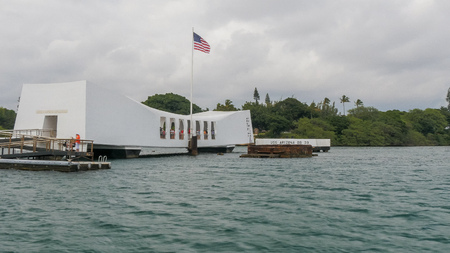 PEARL HARBOR, UNITED STATES OF AMERICA - JANUARY 12 2015: a close up shot of the uss arizona memorial at pearl harbor in hawaii Editorial