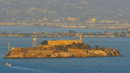 close up of alcatraz island in san francisco, california from battery spencer