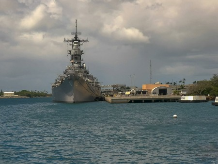 close up of the uss missouri at pearl harbor