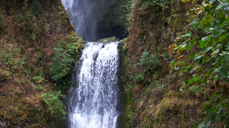 close up of the lower step at multnomah falls in portland