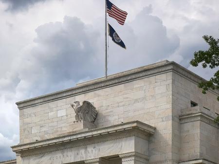 primo piano dell'esterno dell'edificio della Federal Reserve Archivio Fotografico
