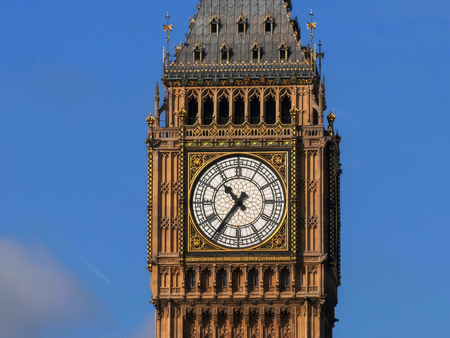 extreme close up of the clock face of big ben, london