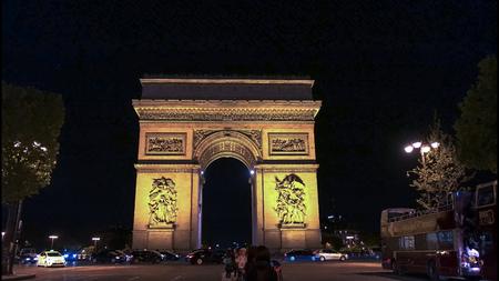 night view of the arc de triomphe de letoile, paris Reklamní fotografie