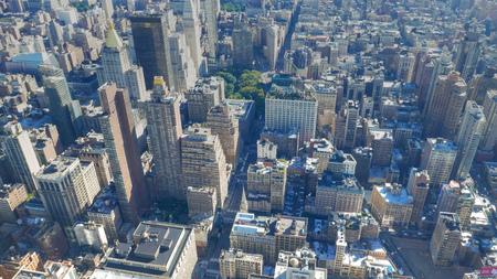 Vue sur les bâtiments de Midtown et Lower Manhattan, New York Banque d'images