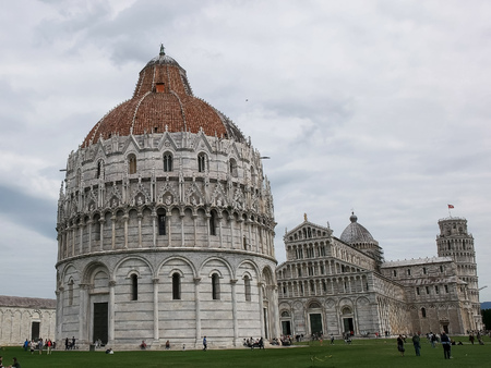 a view of the famous baptistry, pisa