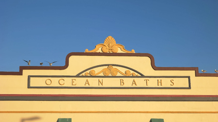 NEWCASTLE, AUSTRALIA- APRIL, 3, 2016 close up of the exterior facade of the ocean baths in newcastle Stock Photo - 125924728