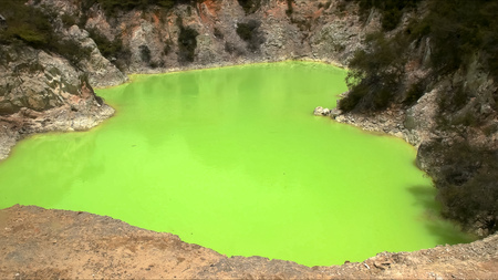close up of the unusual green thermal pool at waiotapu on the north island of nz