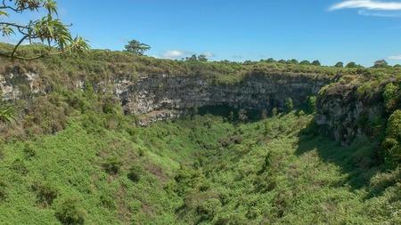 wide view of los gemelos sinkhole on santa cruz island, galapagos
