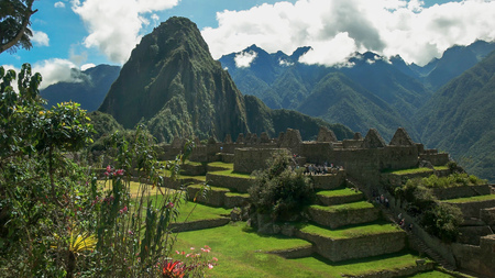 huayna picchu and the central plaza at perus lost incan city of machu picchu