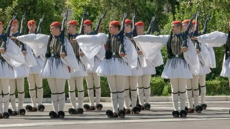 ATHENS, GREECE- SEPTEMBER, 4, 2016: guards on parade at the greek parliament in athens