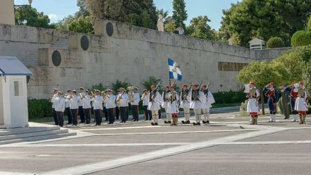 ATHENS, GREECE- SEPTEMBER, 4, 2016: guard ceremony at the tomb of the unknown soldier in athens, greece