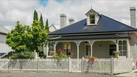 HOBART, AUSTRALIA- DECEMBER, 21, 2016: close up of a cottage at arthur circus in battery point, tasmania