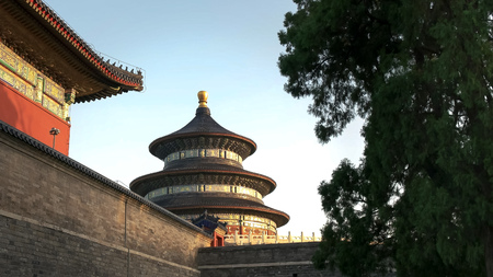 sunset shot of the exterior of the temple of heaven, beijing