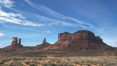 morning view of saddleback mesa at monument valley in utah, usa
