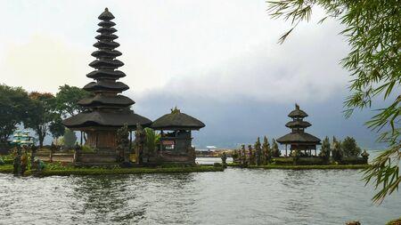 ulun danu beratan temple framed by bamboo on bali