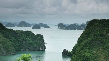 view of halong bay from the lookout on ti top island