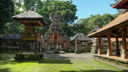 a temple at ubud monkey forest on bali