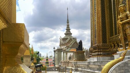 wide shot of temple buildings at the grand palace