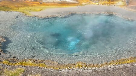 high angle view of firehole spring in yellowstone