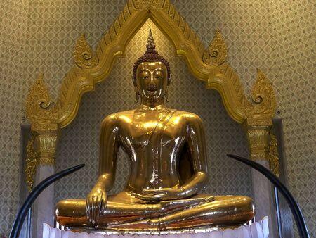 front view of the gold buddha at wat traimit in bangkok