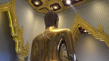 rear view of the golden buddha at wat traimit in bangkok